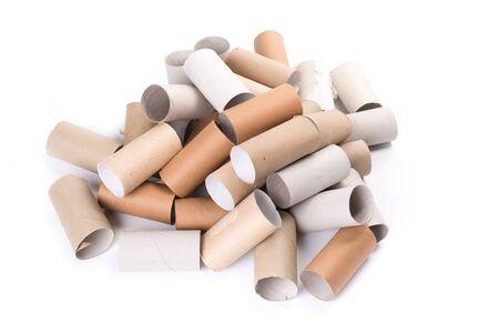 empty paper toilet rolls on white background Stockfoto