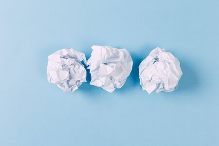 Crumpled paper balls. To make a mistake. The creative process, the formation of ideas. Concept