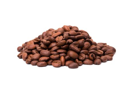 roasted coffee beans. Isolated on a white background.