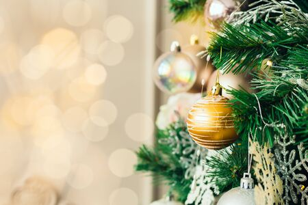 Christmas and New Year decorations with lights. Concept and background.