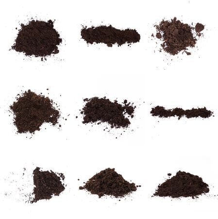 Pile of humus soil isolated on white background