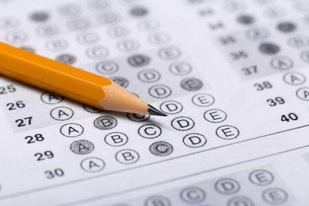 pencil for the exam. printed school test Answer sheet 版權商用圖片