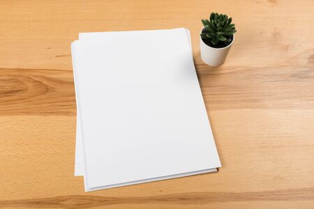 Top view of modern desk office workplace with a4 paper. Blank branding template. Photo blank form. Mock up for portfolio design. Standard-Bild