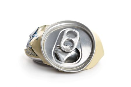 Crumpled Aluminum can isolated on white background. garbage. processing