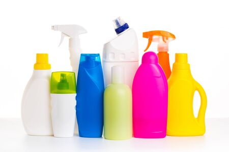 Collection of various household cleaning products isolated on a white background. cosmetic products. House cleaning