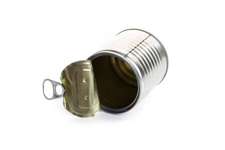 Open an empty tin can isolated on white background Stock Photo