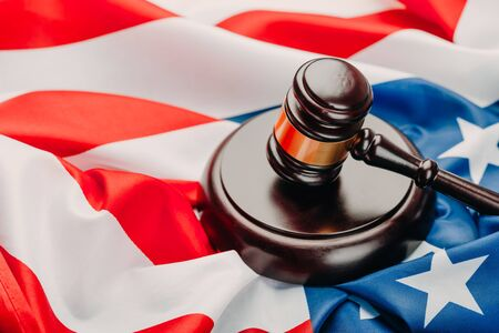 Judge gavel on the background of the flag united states of America 免版税图像