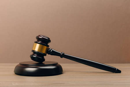 Judge Gavel on a wooden table. The concept of law. sentence, justice