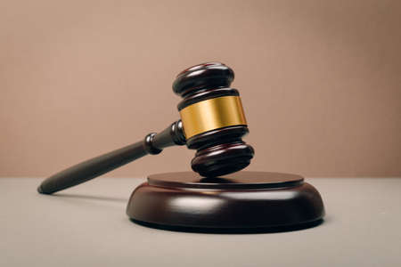 Judge Gavel on a wooden table. The concept of law. sentence, justice Stock Photo
