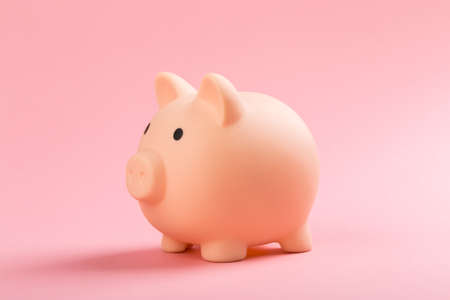 beautiful pink piggy bank on rose background. The concept of saving money or savings, investment Zdjęcie Seryjne