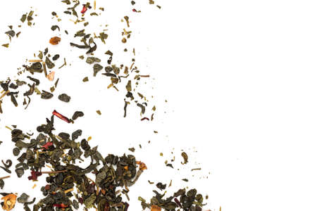 Fragrant Leaves of Chinese Dry Tea Top Grade with Goji Berries and Powdered Acai on White Background
