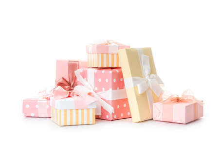 set of beautiful handmade gift boxes with pink ribbons Banco de Imagens