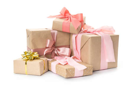 set of beautiful handmade gift boxes with pink ribbons