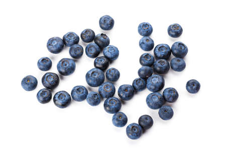 Set of tasty ripe blueberries on white background