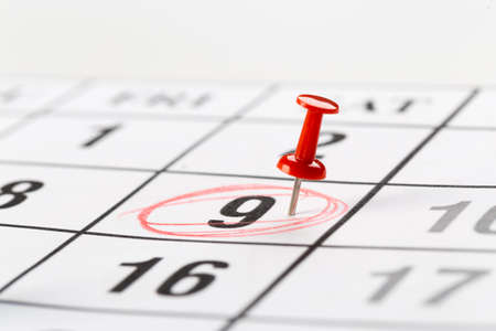 red buttons on the calendar. Concept idea to do planning. Stock Photo
