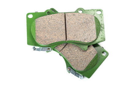 Set of brake pads, spare parts for a car, isolated on white Stock Photo