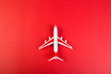 Airplane model with red wings. tourism and travel concept. red background