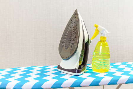 Electric iron on ironing board and water spray for ironing