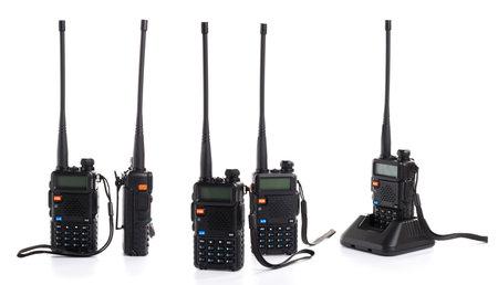 set collage walkie talkie radio communication device isolated on white background