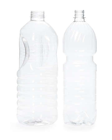 two empty new plastic bottle isolated on white background. production of containers