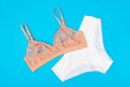 top view of fashionable bra and panties set on blue background Female wardrobe, shopping concept. Underwear. Фото со стока
