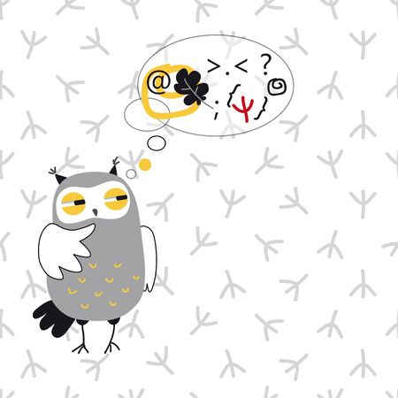 contemplate: Thinking owl vector