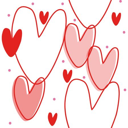 Seamless pattern with red hearts Illustration