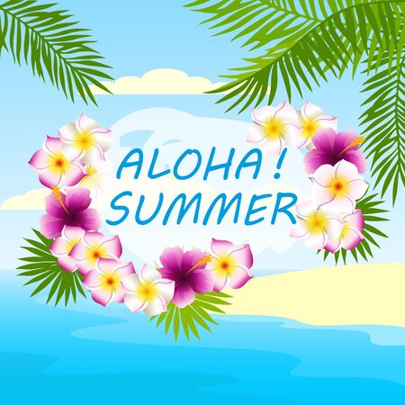 HI: tropical background, card with inscription aloha summer Illustration