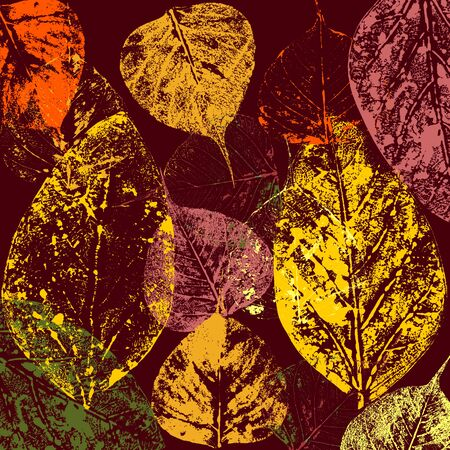 autumnal leaves abstract print background Stock Photo