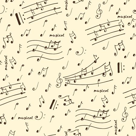 repeated: Doodle hand sketched musical elements seamless pattern. Illustration