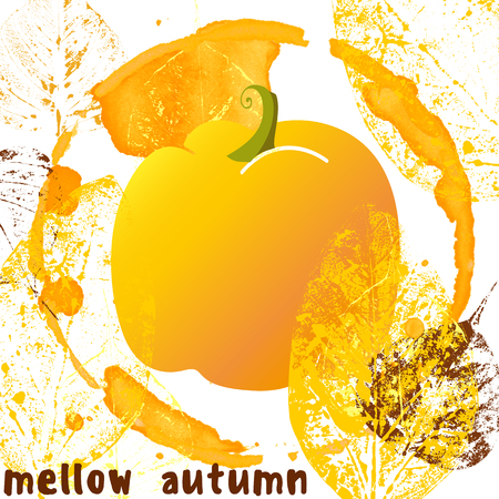 mellow autumn poster in grunge style with pumpkin