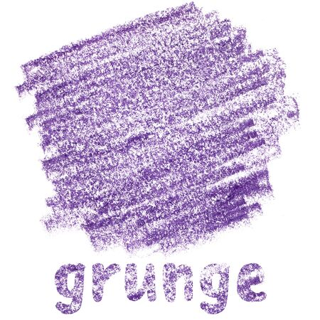 purple pencil stain in grunge style on white background
