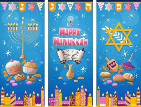 Happy Hanukkah greeting card winter background