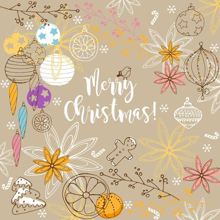 Merry Christmas winter doodles background.