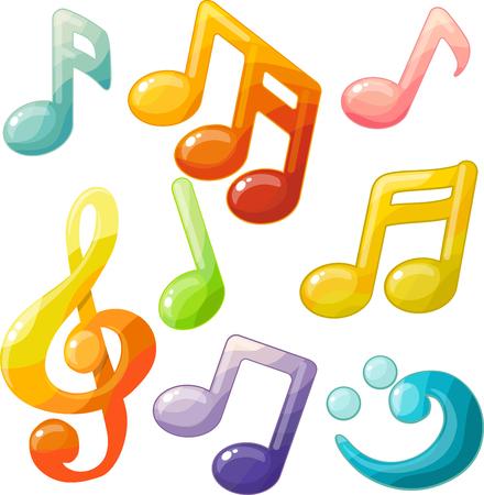 Decorative musical cartoon symbols