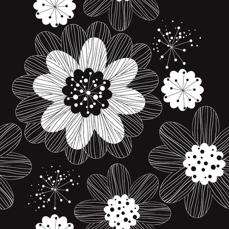 Floral black and white seamless pattern.