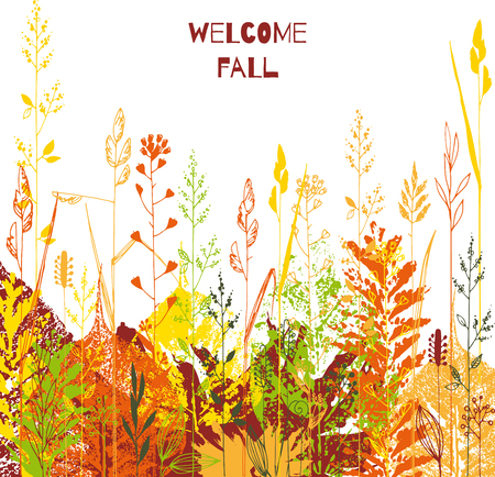 Autumnal abstract template. Print leaves and hand drawn plants card Illustration