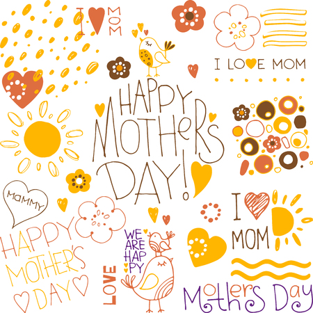 hand drawn mothers day doodle elements