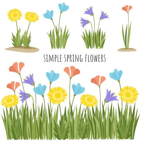 Set of spring simple flowers vector illustration