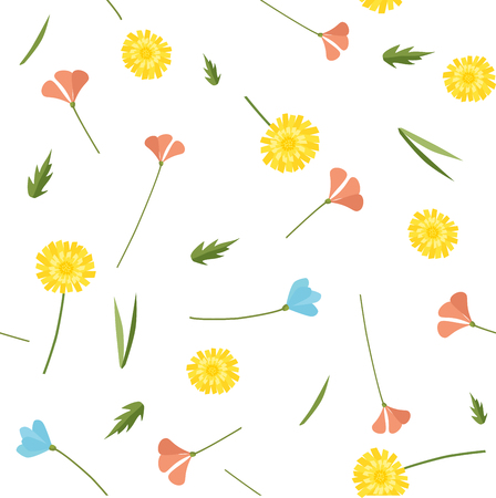 Spring and summer simple vector flowers seamless pattern