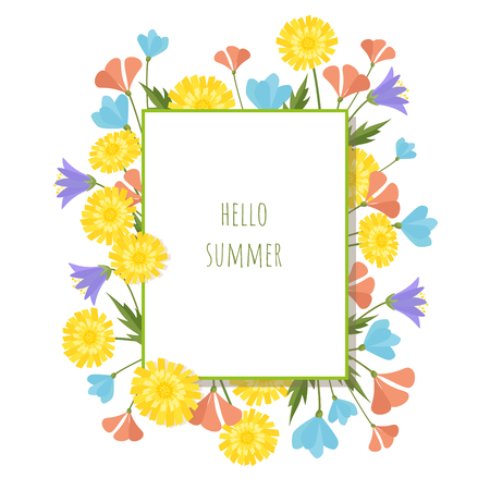 Summer flowers vector design template. Hello summer abstract background Çizim