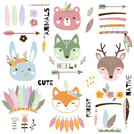 Cute tribal animals set. Wild animal portrait vector illustration