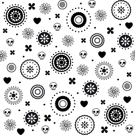 Hearts and skulls decorative black and white seamless pattern
