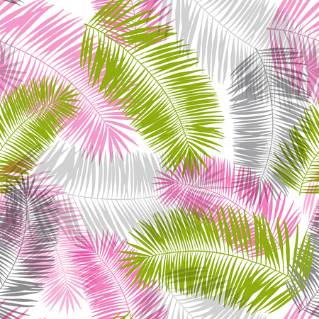 pink, grey and green palm leaves abstract seamless pattern