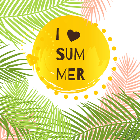 I love summer vector illustration. Tropical leaves abstract vector card