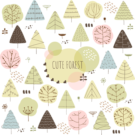 Cute doodle forest vector illustration. Decorative landscape background Çizim
