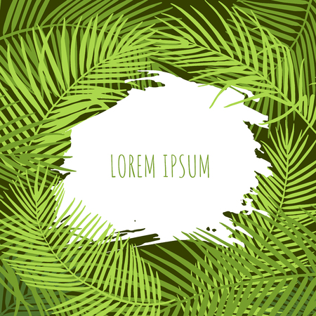 Summer abstract design template. Palm leaves tropical background