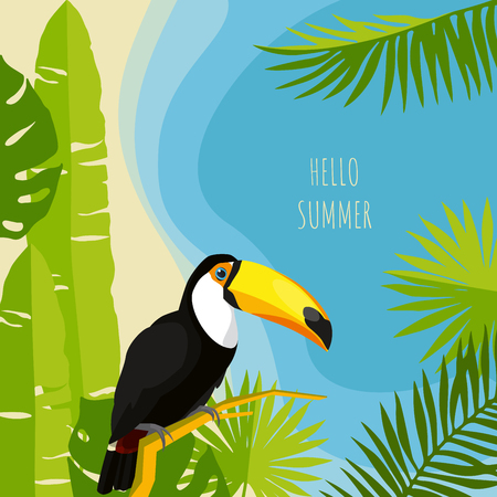 Tropical leaves summer design template. Toucan vector illustration