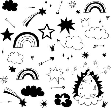 hand sketched faerie doodle elements, rainbow, stars and clouds Çizim