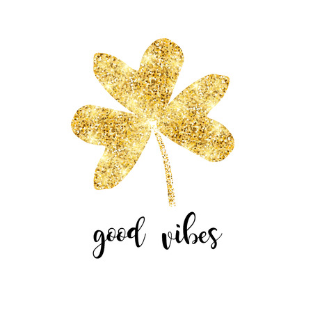 Glitter clover leaf with inscription vector illustration card